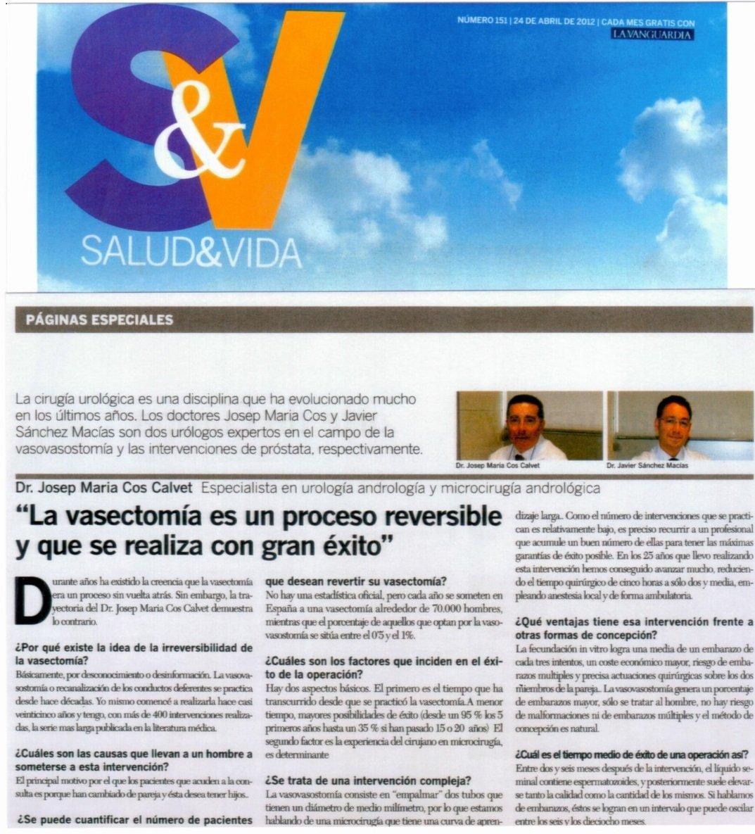 Artículo Vasovasostomía La Vanguardia